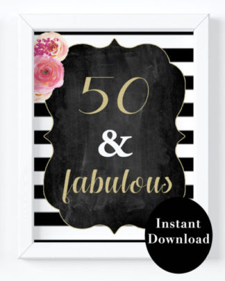 graphic relating to 40th Birthday Signs Printable known as 50th Birthday Get together Decor- 50 Incredible Print