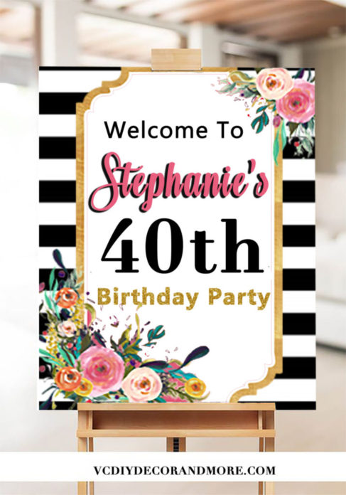 photo relating to Printable Welcome Sign referred to as 40th Birthday Get together Decorations- 40 and Incredible Indicator Welcome Indicator
